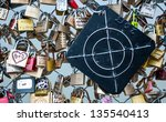 paris   march 24  love lock in... | Shutterstock . vector #135540413
