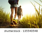 hikers with backpacks walking... | Shutterstock . vector #135540548