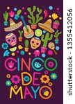 cinco de mayo pattern background | Shutterstock .eps vector #1355412056