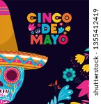 cinco de mayo card with skull... | Shutterstock .eps vector #1355412419
