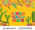 cinco de mayo card with flowers ... | Shutterstock .eps vector #1355416406