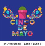 cinco de mayo card with flowers ... | Shutterstock .eps vector #1355416556
