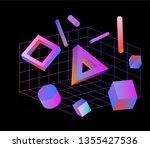 neo memphis  vaporwave 3d... | Shutterstock .eps vector #1355427536