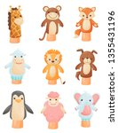 collection of dolls on hand on... | Shutterstock .eps vector #1355431196