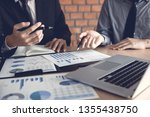 businessman looking graph and... | Shutterstock . vector #1355438750