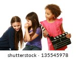 diverse group of girls with one ... | Shutterstock . vector #135545978
