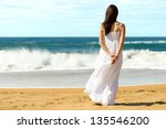 young brunette woman in summer... | Shutterstock . vector #135546200