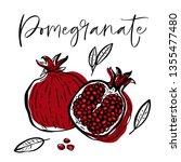 hand drawn pomegranate fruit... | Shutterstock .eps vector #1355477480