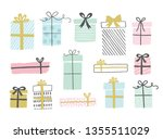 gift boxes set  hand drawn... | Shutterstock .eps vector #1355511029