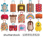 kids carry on hand luggage ...   Shutterstock .eps vector #1355515523