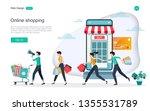 flat design concept of online... | Shutterstock .eps vector #1355531789