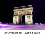 paris triumph arc during night | Shutterstock . vector #135554696