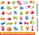 set of 36 organic fruits and... | Shutterstock .eps vector #135554990