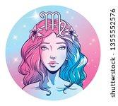 virgo zodiac sign artwork ... | Shutterstock . vector #1355552576