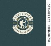 climber logo emblem vector... | Shutterstock .eps vector #1355554880