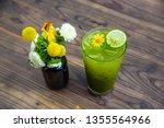matcha green tea has a thin... | Shutterstock . vector #1355564966