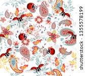 floral seamless pattern with... | Shutterstock .eps vector #1355578199