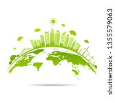 ecology concept with green city ... | Shutterstock .eps vector #1355579063