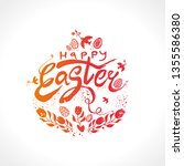 happy easter vector logo sketch ... | Shutterstock .eps vector #1355586380