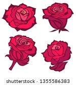 set of vector black rose flower ... | Shutterstock .eps vector #1355586383