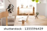 work desk with laptop and... | Shutterstock . vector #1355596439