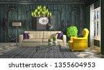 interior of the living room. 3d ... | Shutterstock . vector #1355604953