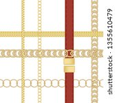 gold chains and  belts seamless ... | Shutterstock .eps vector #1355610479