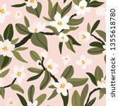blooming tree print design.... | Shutterstock .eps vector #1355618780