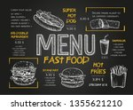 fast food menu cover layout...   Shutterstock .eps vector #1355621210