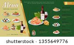hand drawn italian food menu... | Shutterstock .eps vector #1355649776