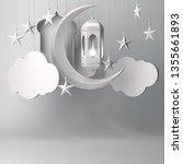 arabic lantern  hanging cloud ... | Shutterstock . vector #1355661893