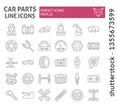 car parts thin line icon set ... | Shutterstock .eps vector #1355673599