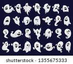 ghost set. spooky halloween... | Shutterstock .eps vector #1355675333