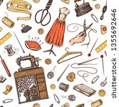 sewing seamless pattern. tools... | Shutterstock .eps vector #1355692646