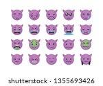 set of sad devil emoticon... | Shutterstock .eps vector #1355693426