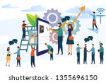 business people with smartphone ...   Shutterstock .eps vector #1355696150