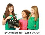 diverse group of girls with one ... | Shutterstock . vector #135569704