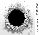 dark destruction cracked hole... | Shutterstock . vector #1355732546
