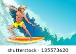 surfer on the waves rushing   Shutterstock .eps vector #135573620
