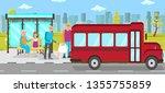 bus stop public transport... | Shutterstock .eps vector #1355755859