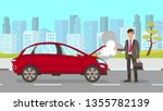 man in car accident vector... | Shutterstock .eps vector #1355782139