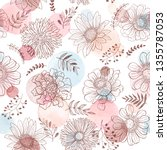 seamless pattern from flowers... | Shutterstock .eps vector #1355787053