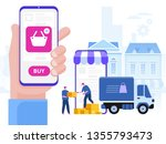 delivery service concept. truck ... | Shutterstock .eps vector #1355793473