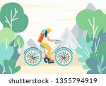 girl riding a bike with a...   Shutterstock .eps vector #1355794919