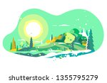 spring landscape with snow... | Shutterstock .eps vector #1355795279