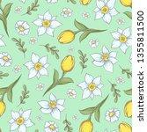 Seamless Pattern Of Daffodils...