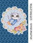 cute watercolor owl in circle... | Shutterstock . vector #1355812556