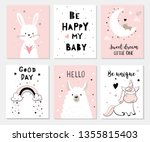 cute posters with little bunny  ... | Shutterstock .eps vector #1355815403