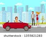happy woman meets friends flat... | Shutterstock .eps vector #1355821283