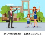 wife waving to husband flat... | Shutterstock .eps vector #1355821436